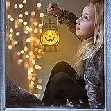 Kürbis Licht, 3 Stück Halloween Laterne mit LED Kerze, Kürbis Laterne Teelichter Batterie LED Kürbis Licht Vintage Laterne Nachtlicht Tragbare Kürbis Lichter für Halloween Deko - 7