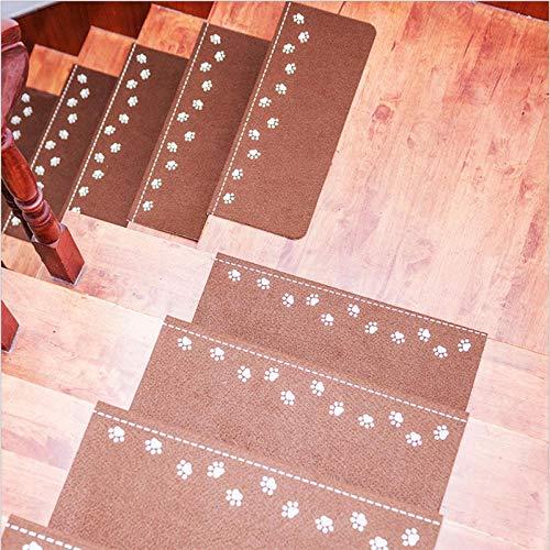 JKlazy Treppenmatte Dunkelbraune Pfote Selbstklebende Matte Waschbar Pflegeleicht Ergonomic Technology Stufenmatten Set für Treppenstufen - 2 Stück