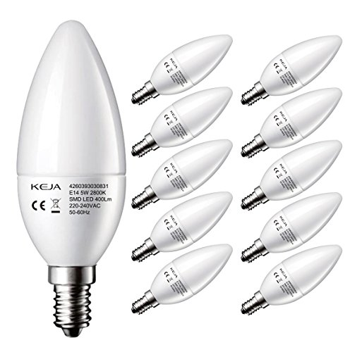 LED FACTORY 5W E14 LED Lampen 400lm, Warmweiß, Ersatz für 50W Glühlampen, 2800K, 160° Abstrahlwinkel, LED Leuchtmittel, Kerzenlampen, LED Birnen, Kerzenleuchten, 10er Pack