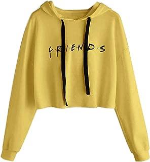 Susada Womens Friends Letter Printed Hoodies Casual Crop Tops Pullover Sweatshirts Soft