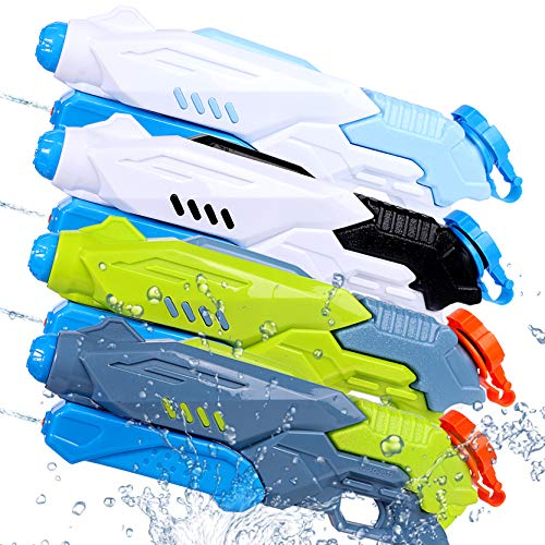 4 Pack Water Squirt Guns, Super Water Blaster Toys for Kids Teens with 300cc Capacity Summer Water...