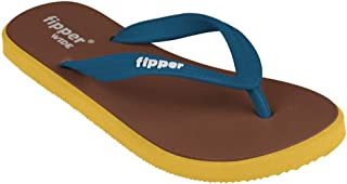 fipper Rubber Thongs, Style: Wide, UK 6 to 12 / US 7 to 13, Length 24.5cm to 31.5 (UK 6 / US 7, Brown/Yellow/SnorkelBlue)