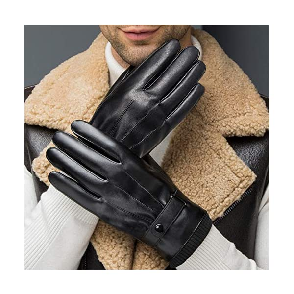 Sankuu Men's Winter Black Leather Gloves 4