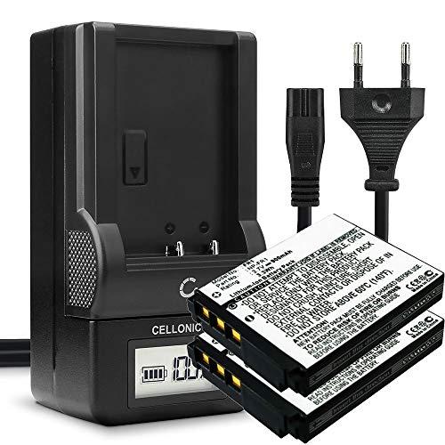 CELLONIC 2X Batería Recargable NP-FR1 Compatible con Sony DSC-F88 DSC-G1 DSC-P100 DSC-P120 DSC-P150 DSC-P200 DSC-T30 DSC-T50 DSC-V3, 1000mAh + Cargador bateria de Repuesto