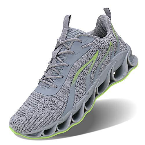 JSLEAP Laufschuhe Atmungsaktiv Turnschuhe Schnürer Sportschuhe Sneaker für Herren Damen(3c Grau,Größe 44 EU/270 CN)