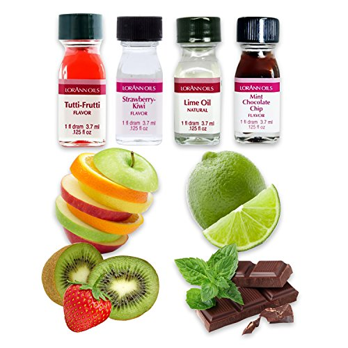 LorAnn Oils Backaroma SET Geschmacksexplosion | Limette | Erdbeer-Kiwi | Tutti Frutti | Schokolade-Minze