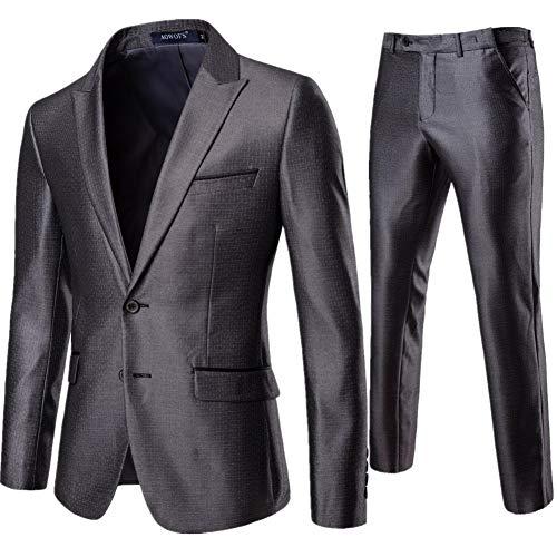 [MANMASTER(マンマスター)]スーツ 2つボダン 光沢 上下セット ジャケット スラックス ビジネス メンズ CH479 (XL, グレー)