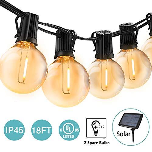 BRTLX LED Solar Lichterkette Außen 18FT Wasserdichte LED Innen/Außen Globus Schnur Deko Lichterkette mit 12er Birnen für Party Porch Cafe(2 Ersatzlampen)