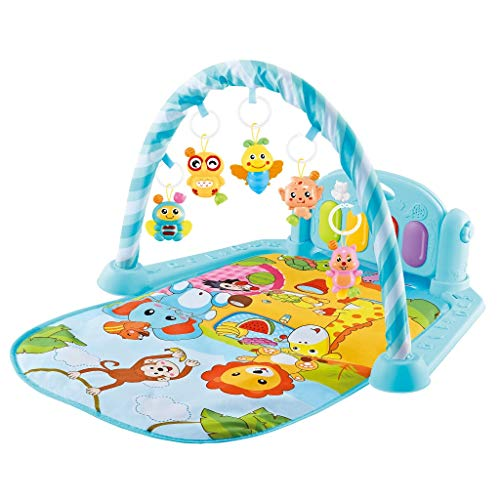 Baby Play Mat Activity Gym, Baby Crawling Game Pad with Piano Music Pedal and Fitness Rack with Hanging Toys, Lay to Sit-Up Play Mat Activity Center for Infants and Toddlers (UK 3-5 Day,Multicolour)