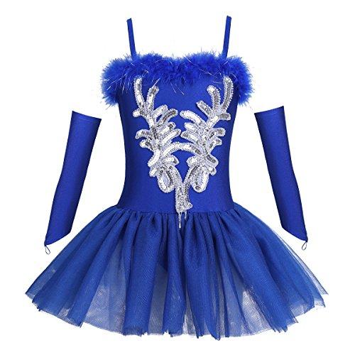 TiaoBug Mädchen Ballettkleidung 3tlg.Set Ballettkleid+Handschuhe+Haarband Kinder Ballettanzug Ballett Trikot Tanz Kostüm Tütü Kleid 104 110 116 122 128 140 152 Blau 140-152