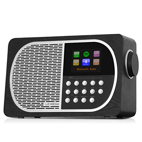 LEMEGA M2+ Smart Internet Radio,Table Radio,FM Radio,Bluetooth, WiFi,Spotify Connect,Wooden Box,Headphones-Out,AUX-in,USB MP3, Alarms& Clock,Kitchen/Sleep/Snooze Timer,20 Stations Presets-Black Oak