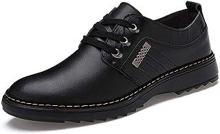 [ジョイジョイ] カジュアルシューズ ローカット レースアップシューズ ビジネスシューズ 本革 ローファー 紳士靴 革靴 レースアップ ウォーキング 通気性 春 滑りにくい 防水 大きいサイズ ブラウン