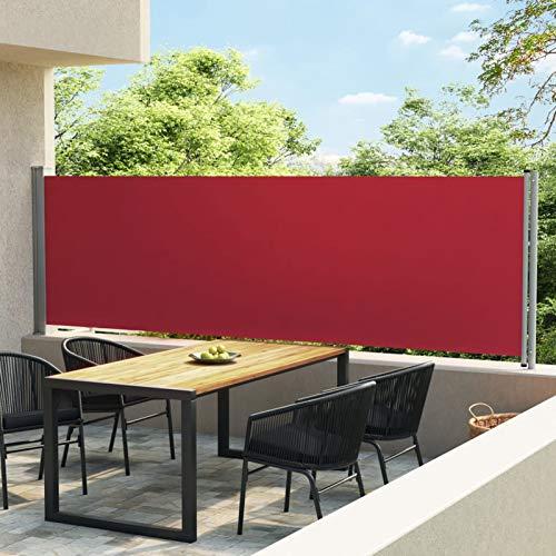 Festnight Ausziehbare Seitenmarkise   Windschutz Sichtschutz Sonnenschutz   Seitenwandmarkise Seitenrollo für Balkon Terrasse Garten (140x600 cm, Rot)