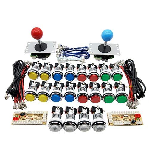 UexCN - Kit di joystick per giochi arcade fai da te con zero ritardo USB encoder 5 V LED cromato pulsante per divertirsi a casa con gli amici