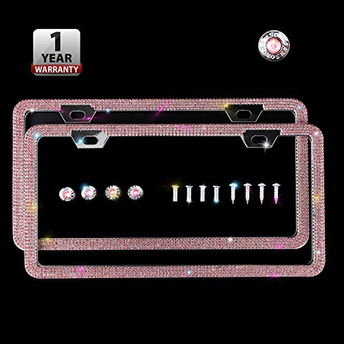 Indeedbuy Sparkle Crystal Pink Bling Car Thin Border License Plate Frame, Luxury Handmade Waterproof Glitter Rhinestone Premium Stainless Steel Licence Plate Front Back License