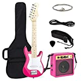 Best Choice Products 30in Kids Electric Guitar Beginner Starter Kit with 5W Amplifier, Strap, Case, Strings, Picks - Pink/White