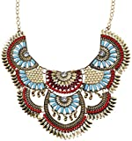 Paxuan Womens Antique Silver/Gold Alloy Vintage Colorful Boho Bohemia Turquoise Necklace Ethnic Tribal Beaded Necklace Chunky Choker Statement Necklace (Antique Gold)