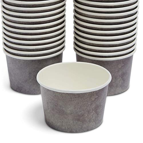 Gray Paper Bowls - 50 Pack - 12oz/9 oz snack cups - eco friendly disposable - Weddings- Treat cups - party supplies - ice cream party - ice cream cups, dessert, frozen yogurt, sundae, soup