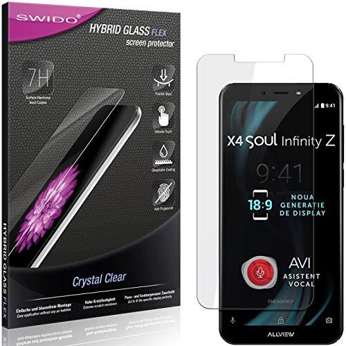 SWIDO Panzerglas Schutzfolie kompatibel mit Allview X4 Soul Infinity Z Bildschirmschutz-Folie & Glas = biegsames HYBRIDGLAS, splitterfrei, Anti-Fingerprint KLAR - HD-Clear