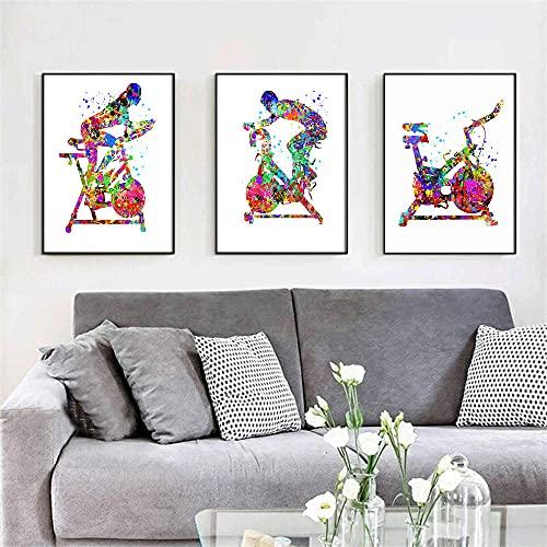 TXTYUMR 3 Piezas Bicicleta estática Arte de Pared impresión estacionaria Acuarelas Lienzo Pintura Cartel Pared impresión de Imagen para Gimnasio en casa decoración de Oficina Interior/sin Marco