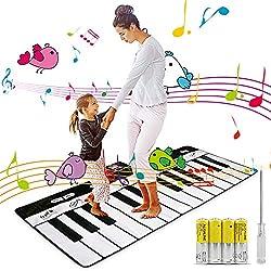 Magicfun Tanzmatten Mat, 24 Tasten Früherziehung Musical 8 Instrumenten Keyboard Matten, Klaviermatte Musikmatte Keyboard Musik für Kinder Spielteppich für Jungen Mädchen(180cm*74cm)