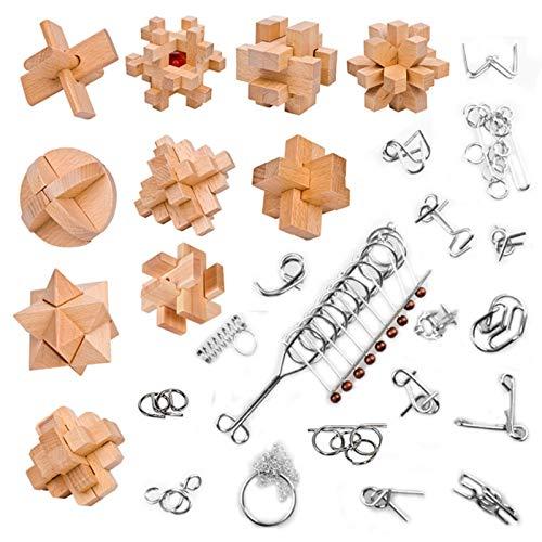 Rompecabezas Metal,  28Pcs Metal Puzzles 3D Juegos de Ingenio IQ Juguete Educativos Juego LogicaCalendario de Adviento para Niños y Adultos