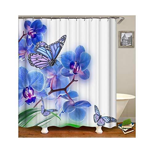 Knbob Polyester Duschvorhang Blau Blume Schmetterling Badewanne Vorhang 120x180CM mit 12 Duschvorhangringen