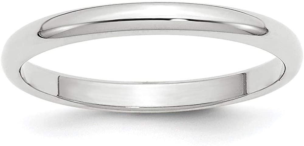 10 White Gold 2.5mm Half Round Wedding Ring Band Size 6.5 Classic Fashion Jewelry For Women Gifts For Her