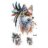 tzxdbh 7Pcs- Fox Cat Tatuajes temporales en el Cuerpo para Mujer Hombre León Caballo Flor Tatuaje 9.8X6cm Etiqueta engomada Impermeable del Tatuaje 7Pcs-