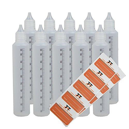 TORG TRADING Stiftflaschen BZW. Unicorn Bottle mit Skala - 10 x 100ml Kunststoffflaschen aus weichem PE inkl. 10 Etiketten (weiß/transparent) - Liquid Flasche für E-Liquid - Tropfflaschen (100ml)
