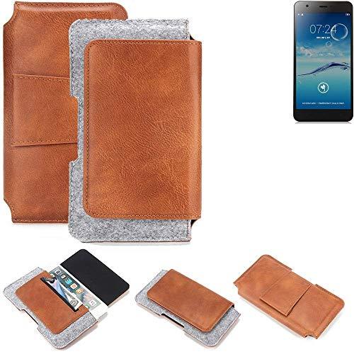 K-S-Trade® Schutz Hülle Für Jiayu S3+ Gürteltasche Gürtel Tasche Schutzhülle Handy Smartphone Tasche Handyhülle PU + Filz, Braun (1x)