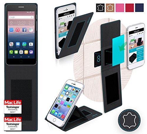 reboon Hülle für Alcatel OneTouch Pop Up Tasche Cover Case Bumper   Schwarz Leder   Testsieger