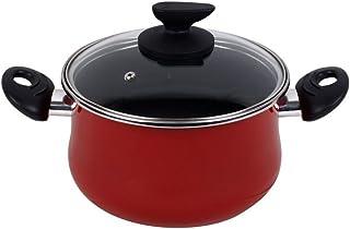 Magefesa Praga Olla 24 cm de Acero esmaltado con Tapa, Antiadherente bicapa Reforzado, Color Rojo Exterior. Apta para Todo Tipo con cocinas, incluida inducción