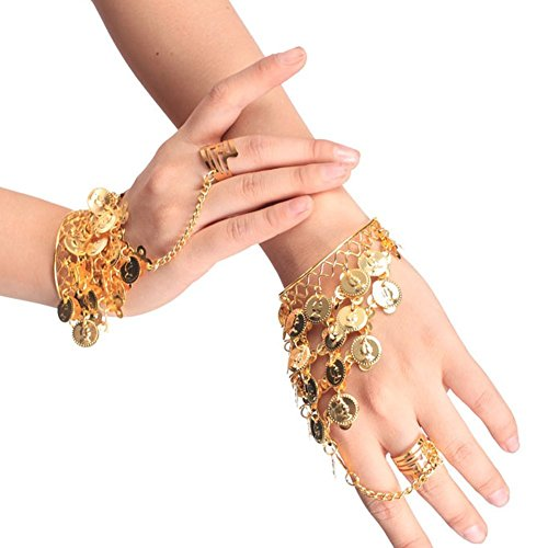 TININNA Bauchtanz Dreieck Münzen Armband Armreif Handkette Handschmuck Armbänder golden EINWEG Verpackung