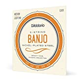 D'Addario EJ61 Set per Banjo a 5 Corde, Nickel, Tensione Media, 10-23...