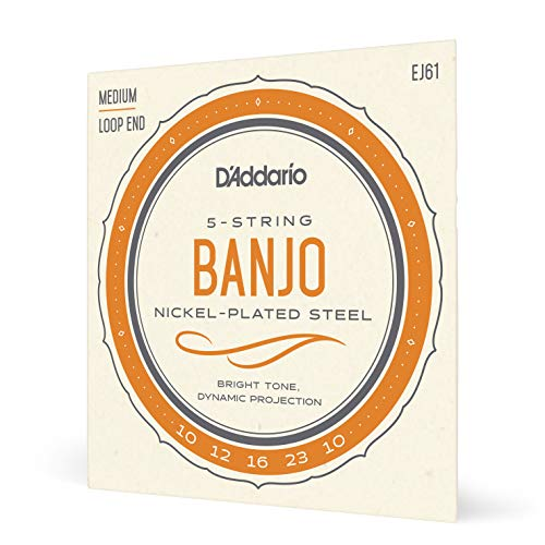 D`Addario EJ61 - Banjo de 5 cuerdas (níquel, tamaño mediano)