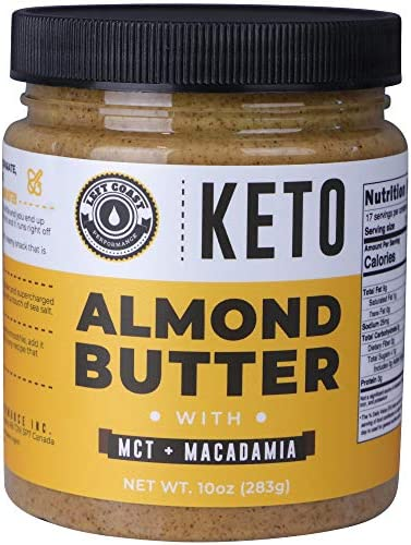 Keto Almond Butter with MCT Oil and Macadamia Nuts No Sugar Added Low Carb Nut Butter 10oz Perfect product image