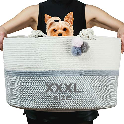 XXXL Cotton Rope Basket Extra Large Size Soft and Safe for Kids, Babies, Puppies, Dog Toys Basket, Laundry Hamper Storage Organizer for Baby Clothes, Pillows and Blankets, Living Room Nursery Woven Bi