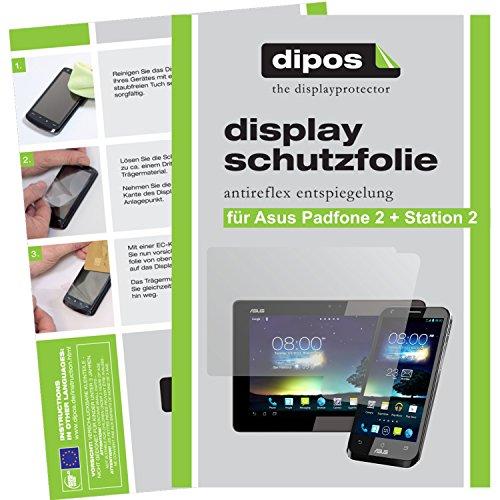 dipos I 6X Schutzfolie matt kompatibel mit Asus Padfone 2 + Padfone Station 2 Folie Bildschirmschutzfolie (4X Vorder- und 2X Rückseite)