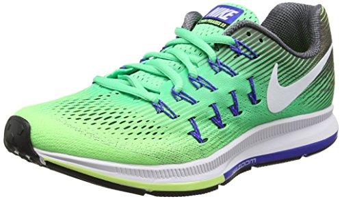 Nike Wmns Air Zoom Pegasus 33, Sneakers Mujer, Verde (Electro Green/White/Ghost Green/dk Grey/Paramount Blue), 38 EU