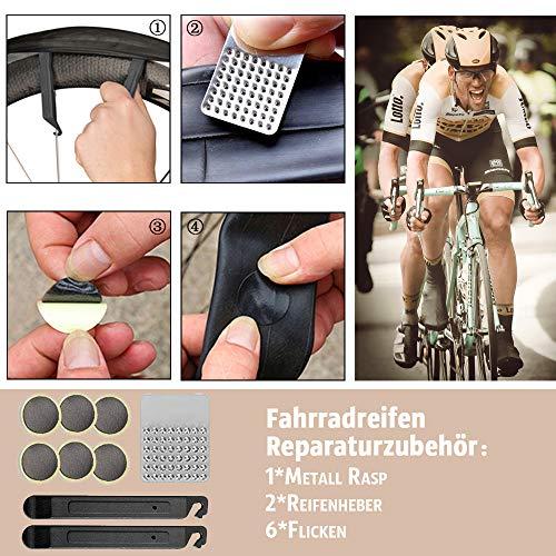 TBoonor Fahrrad Satteltasche mit 16 in 1 Werkzeuge Fahrrad Reparatur Set umfassen Fahhradtasche und Werkzeugsets und Fahrradventil Adapter die Fahrrad-Reparatur für Mountainbikes und Rennräder - 5
