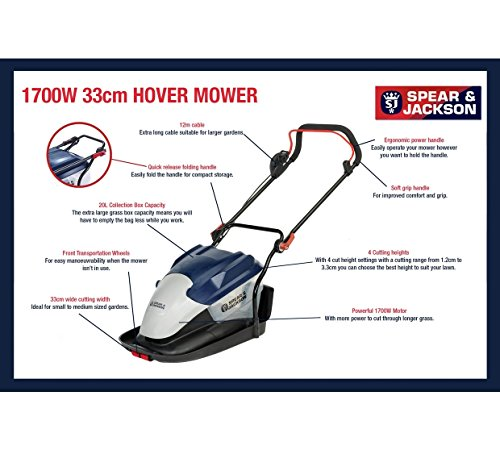 Spear & Jackson – 33cm Hover Collect Lawnmower – 1700W