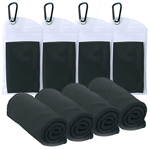 """4 Packs Cooling Towel (40""""x 12""""), Ice Towel, Microfiber Towel, Soft Breathable Cool Towel Stay Cool for Golf,Yoga,Sport,Gym,Workout,Camping,Fitness,Running,Workout (Black)"""