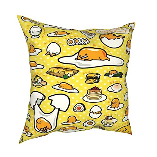 Nicegift Soft Decorative Square Throw Pillow Cover Cushion Covers Pillowcase Gudetama Home Decor for Sofa Couch Bed Chair 18x18 Inch/45x45 cm