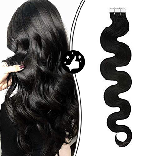 Moresoo 16 Pouces Invisible Tape in Extensions Remy Human Hair Jet Black #1 Color Body Wave 20pcs/50g Human Hair Extensions Real Tape on Hair Seamless