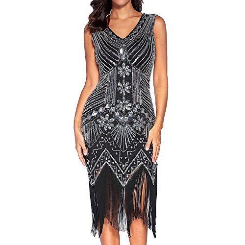 Flapper Vestidos de Mujer de los años 20 con Cuello en V con Cuentas de Flecos Great Gatsby Dress (Negro, M)