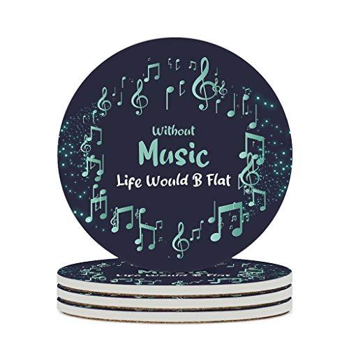 FFanClassic Posavasos de cerámica sin vida musical, con diseño retro y duradero de cerámica, apto para el hogar, regalo de cumpleaños, color blanco, 6 piezas