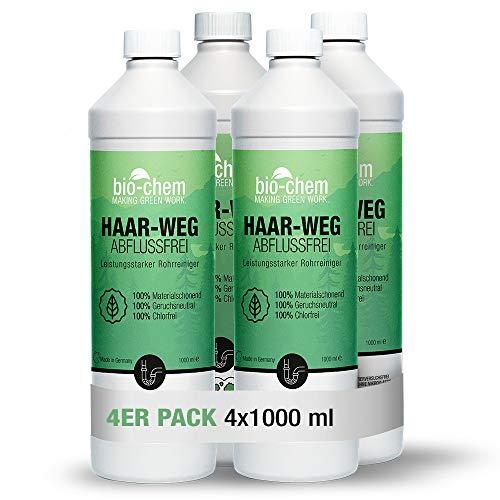 Bio-Chem Haar-Weg Abfluss-Frei Sparpack 4x1000 ml Abflussreiniger Rohrreiniger chlorfrei