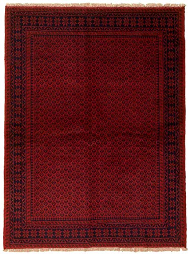 eCarpet Gallery Area Rug for Living Room, Bedroom | Hand-Knotted Wool Rug | Baluch Bordered Red Rug 4