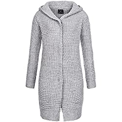 Fresh Made Damen Strickjacke in Grau Karomuster